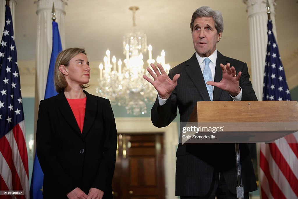 U.S. Secretary of State <a gi-track='captionPersonalityLinkClicked' href=/galleries/search?phrase=John+Kerry&family=editorial&specificpeople=154885 ng-click='$event.stopPropagation()'>John Kerry</a> (R) and <a gi-track='captionPersonalityLinkClicked' href=/galleries/search?phrase=Federica+Mogherini&family=editorial&specificpeople=7400570 ng-click='$event.stopPropagation()'>Federica Mogherini</a>, Vice President and High Representative of the European Union for Foreign Affairs and Security Policy, talk to reporters in the Treaty Room at the State Department May 4, 2016 in Washington, DC. Kerry announced that the United States and Russia have agreed to extend the Syria truce to Aleppo and said that President Bashar al-Assad should start a political transition by August 1 to leave office and end the 5-year-old civil war.