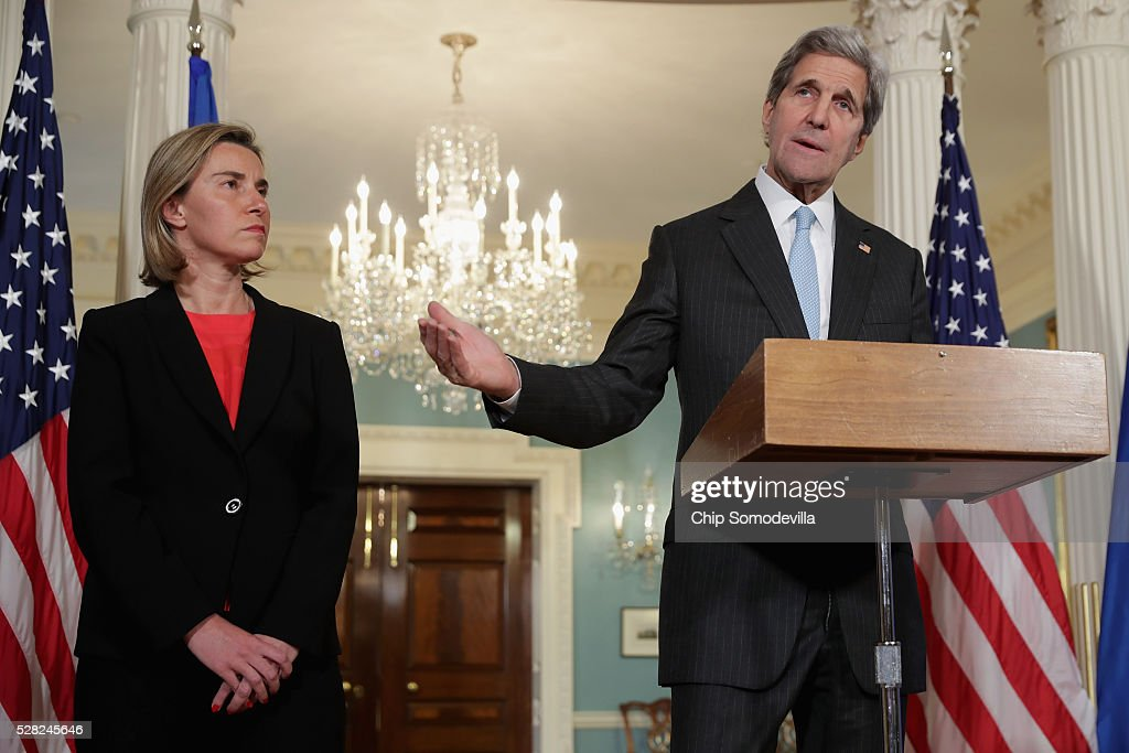 U.S. Secretary of State <a gi-track='captionPersonalityLinkClicked' href=/galleries/search?phrase=John+Kerry&family=editorial&specificpeople=154885 ng-click='$event.stopPropagation()'>John Kerry</a> and <a gi-track='captionPersonalityLinkClicked' href=/galleries/search?phrase=Federica+Mogherini&family=editorial&specificpeople=7400570 ng-click='$event.stopPropagation()'>Federica Mogherini</a>, Vice President and High Representative of the European Union for Foreign Affairs and Security Policy, talk to reporters in the Treaty Room at the State Department May 4, 2016 in Washington, DC. Kerry announced that the United States and Russia have agreed to extend the Syria truce to Aleppo and said that President Bashar al-Assad should start a political transition by August 1 to leave office and end the 5-year-old civil war.