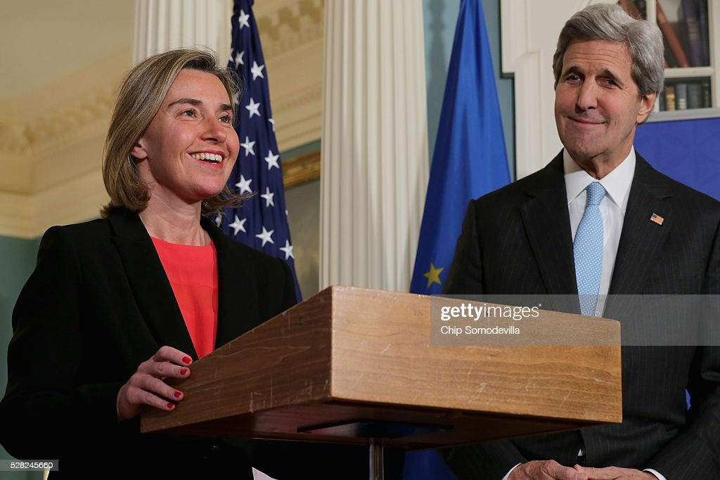 U.S. Secretary of State John Kerry (R) and Federica Mogherini, Vice President and High Representative of the European Union for Foreign Affairs and Security Policy, talk to reporters in the Treaty Room at the State Department May 4, 2016 in Washington, DC. Kerry announced that the United States and Russia have agreed to extend the Syria truce to Aleppo and said that President Bashar al-Assad should start a political transition by August 1 to leave office and end the 5-year-old civil war.