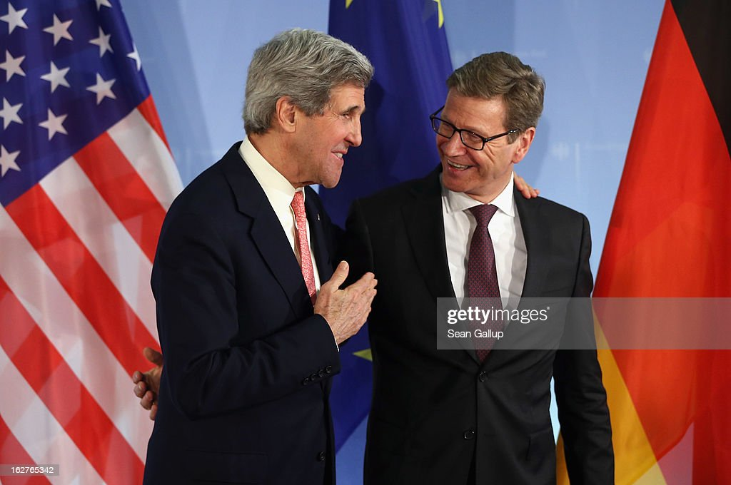 U.S. Secretary of State <a gi-track='captionPersonalityLinkClicked' href=/galleries/search?phrase=John+Kerry&family=editorial&specificpeople=154885 ng-click='$event.stopPropagation()'>John Kerry</a> (L) and German Foreign Minister Guido Westerelle depart after speaking to the media following talks at the Foreign Ministry on February 2, 2013 in Berlin, Germany. Kerry is scheduled to meet with German Chancellor Angela Merkel and Russian Foreign Minister Sergey Lavrov later in the day.