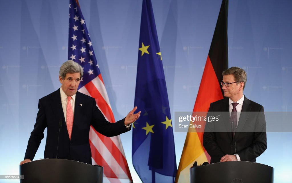 U.S. Secretary of State <a gi-track='captionPersonalityLinkClicked' href=/galleries/search?phrase=John+Kerry&family=editorial&specificpeople=154885 ng-click='$event.stopPropagation()'>John Kerry</a> (L) and German Foreign Minister Guido Westerelle speak to the media following talks at the Foreign Ministry on February 2, 2013 in Berlin, Germany. Kerry is scheduled to meet with German Chancellor Angela Merkel and Russian Foreign Minister Sergey Lavrov later in the day.