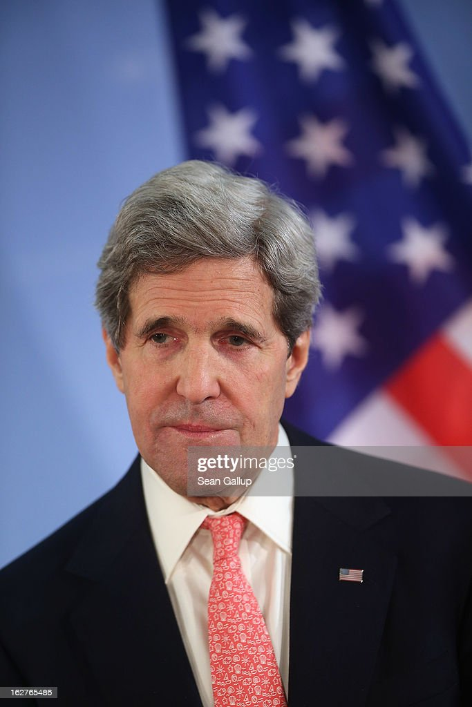 U.S. Secretary of State John Kerry and German Foreign Minister Guido Westerelle (not pictured) speak to the media following talks at the Foreign Ministry on February 2, 2013 in Berlin, Germany. Kerry is scheduled to meet with German Chancellor Angela Merkel and Russian Foreign Minister Sergey Lavrov later in the day.