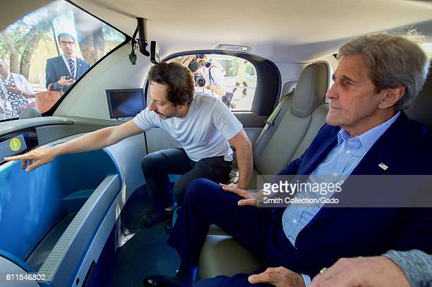 US Secretary of State John Kerry and Google cofounder Sergey Brin inside a Google selfdriving car Palo Alto California June 23 2016 Image courtesy US...