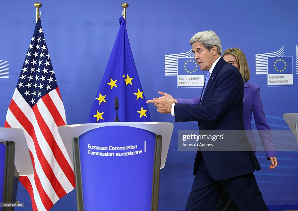 US Secretary of State John Kerry (L) and High Representative of the European Union for Foreign Affairs and Security Policy, Federica Mogherini (R) attend a press conference after their meeting in Brussels, Belgium on June 27, 2016.