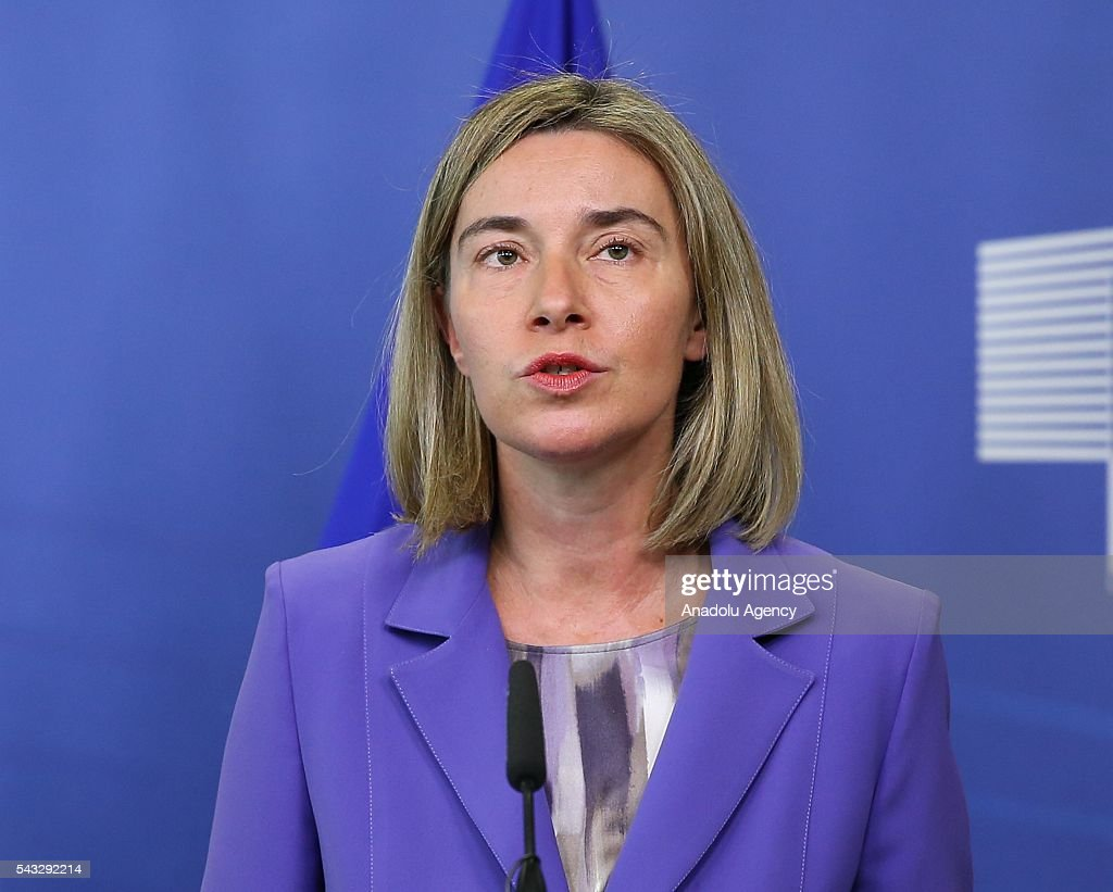 US Secretary of State John Kerry (not seen) and High Representative of the European Union for Foreign Affairs and Security Policy, Federica Mogherini attend a press conference after their meeting in Brussels, Belgium on June 27, 2016.