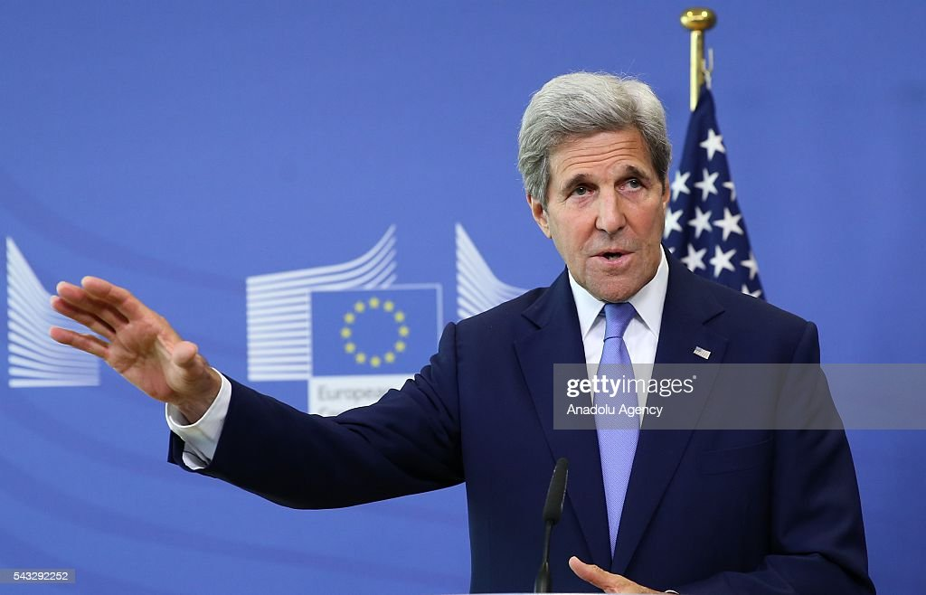 US Secretary of State John Kerry and High Representative of the European Union for Foreign Affairs and Security Policy, Federica Mogherini (not seen) attend a press conference after their meeting in Brussels, Belgium on June 27, 2016.