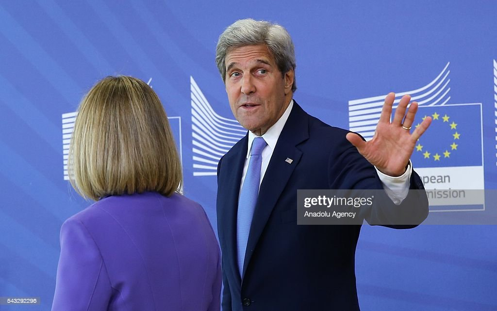 US Secretary of State John Kerry (R) and High Representative of the European Union for Foreign Affairs and Security Policy, Federica Mogherini (L) attend a press conference after their meeting in Brussels, Belgium on June 27, 2016.
