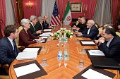 S Secretary of State John Kerry and his Iranian counterpart Mohammad Javad Zarif are seen during nuclear talks in Lausanne Switzerland on March 17...