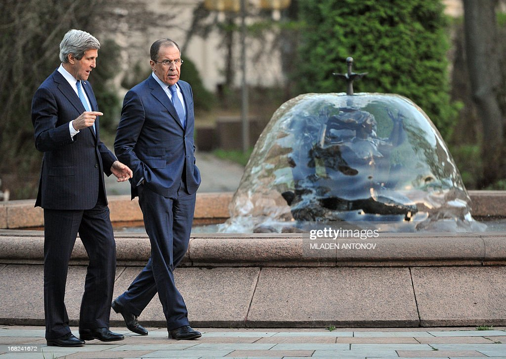 US Secretary of State John Kerry and his Russian counterpart Sergei Lavrov walk prior to their talks in the garden of the Foreign Ministry Osobnyak in Moscow on May 07, 2013. Kerry arrived today in Moscow for talks with Russian President Vladimir Putin, seeking to restore frayed US-Russia ties and win Moscow's support on the war in Syria.