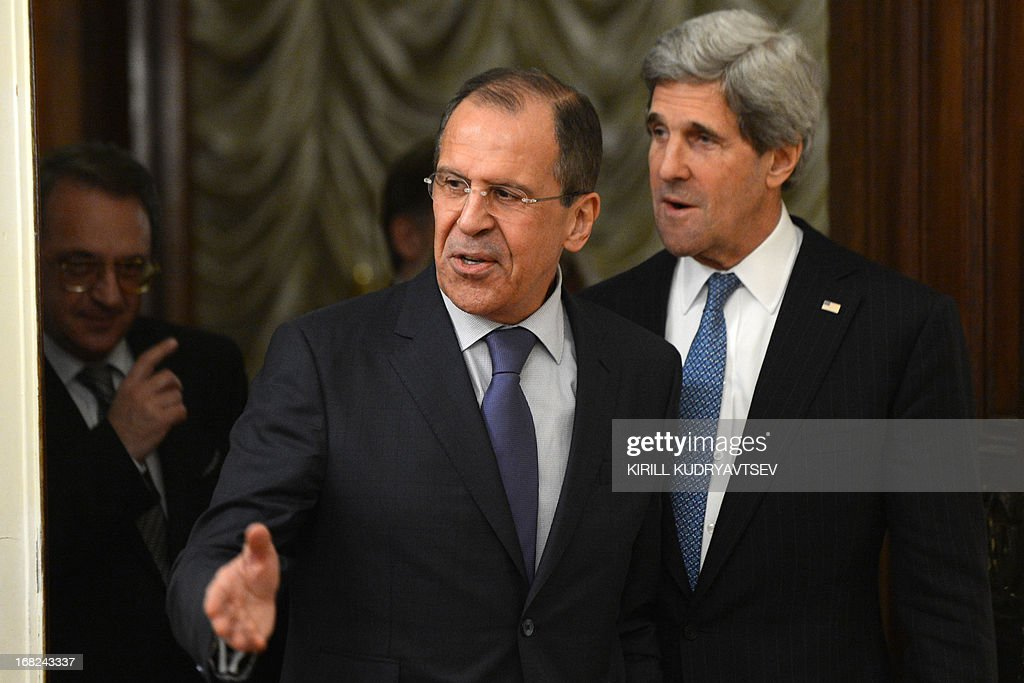 US Secretary of State John Kerry (R) and his Russian counterpart Sergei Lavrov hold talks in the Foreign Ministry Osobnyak in Moscow on May 7, 2013. Kerry arrived today in Moscow for talks with Russian President Vladimir Putin, seeking to restore frayed US-Russia ties and win Moscow's support on the war in Syria.