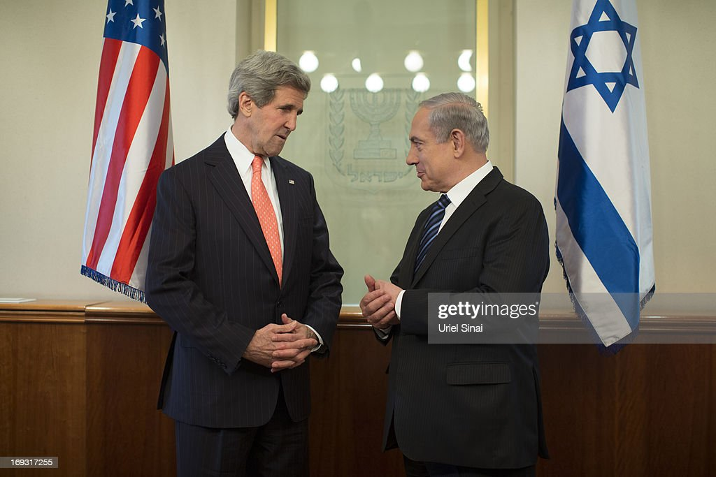 US Secretary of State John Kerry and Israeli Prime Minister Benjamin Netanyahu ahead of their meeting on May 23, 2013 in Jerusalem, Israel. This is Kerry's fourth visit to the country in the past two months and British Foreign Secretary William Hague is due to meet him to renew peace talks between Israel and Palestine.