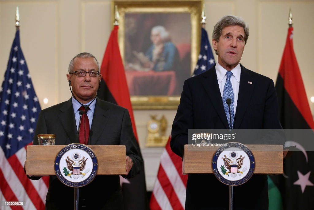 U.S. Secretary of State John Kerry (R) and Libyan Prime Minister Ali Zeidan hold a news conference in between bilateral meetings in the Ben Franklin Room at the State Department on March 13, 2013 in Washington, DC. The two leaders took time in between meetings to make statements to the news media.