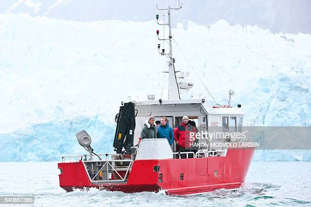 US Secretary of State John Kerry and Norwegian Foreign Minister Borge Brende make a tour of the Blomstrand Glacier on June 16 in NyAlesund Norway...