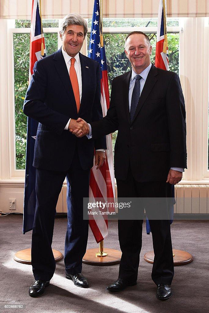 U.S. Secretary Of State John Kerry and Prime Minister of New Zealand Rt Hon John Key at Premier House on November 13, 2016 in Wellington, New Zealand. The U.S. Secretary of State is on a two-day visit to New Zealand.