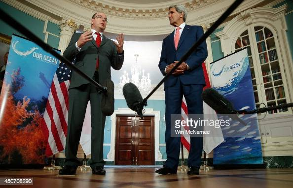 S Secretary of State John Kerry and Prince Albert II of Monaco deliver remarks following a meeting at the State Department June 16 2014 in Washington...