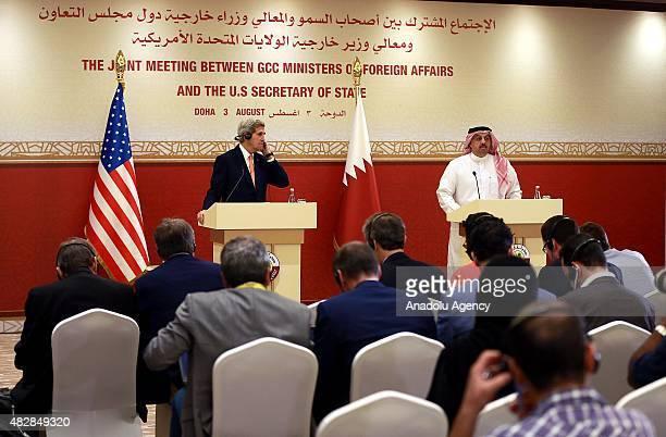 Secretary of State John Kerry and Qatar's Foreign Minister Khalid Bin Mohammed AlAttiyah hold a joint press conference after the Joint Meeting...