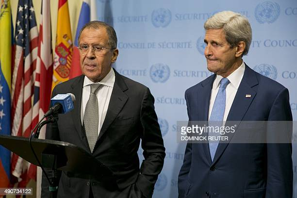 US Secretary of State John Kerry and Russia Foreign Minister Sergey Lavrov speak to the media after a meeting concerning Syria at the United Nations...