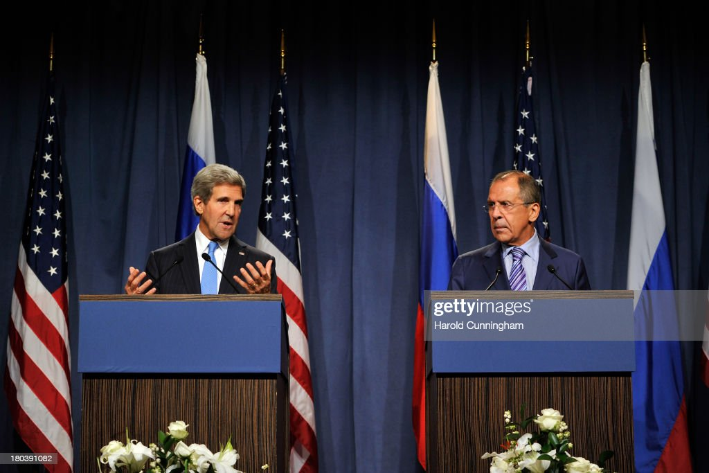 US Secretary of State <a gi-track='captionPersonalityLinkClicked' href=/galleries/search?phrase=John+Kerry&family=editorial&specificpeople=154885 ng-click='$event.stopPropagation()'>John Kerry</a> (L) and Russian Foreign Minister Sergey Lavrov speak to the press at the Hotel Intercontinental on September 12, 2013 in Geneva, Switzerland. The leaders met to discuss chemical weapons in Syria in working towards assisting a U.N. Security Council resolution.
