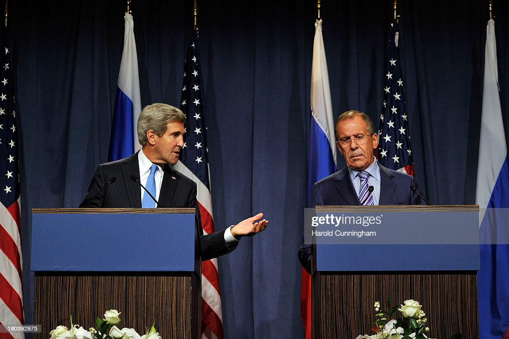 US Secretary of State <a gi-track='captionPersonalityLinkClicked' href=/galleries/search?phrase=John+Kerry&family=editorial&specificpeople=154885 ng-click='$event.stopPropagation()'>John Kerry</a> (L) and Russian Foreign Minister Sergey Lavrov speak during a press conference at the Hotel Intercontinental on September 12, 2013 in Geneva, Switzerland. The leaders met to discuss chemical weapons in Syria in working towards assisting a U.N. Security Council resolution.