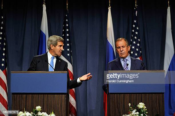 Secretary of State John Kerry and Russian Foreign Minister Sergey Lavrov speak during a press conference at the Hotel Intercontinental on September...