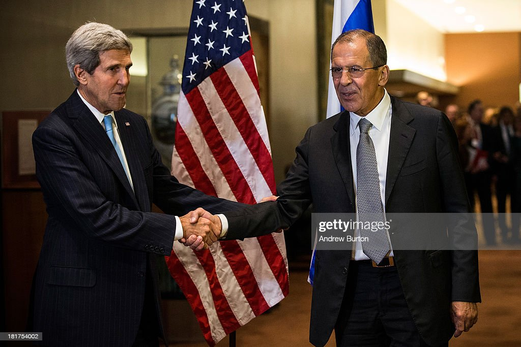 U.S. Secretary of State John Kerry (L) and Russian Foreign Minister Sergey Lavrov shake hands on the sidelines of the 68th United Nations General Assembly on September 24, 2013 in New York City. Over 120 prime ministers, presidents and monarchs are gathering this week for the annual meeting at the temporary General Assembly Hall at the U.N. headquarters while the General Assembly Building is closed for renovations.