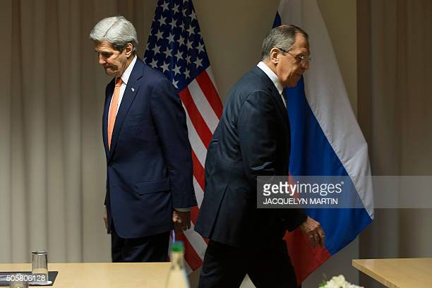 Secretary of State John Kerry and Russian Foreign Minister Sergey Lavrov arrive for talks on the Syria peace process in Zurich on January 20 in Davos...