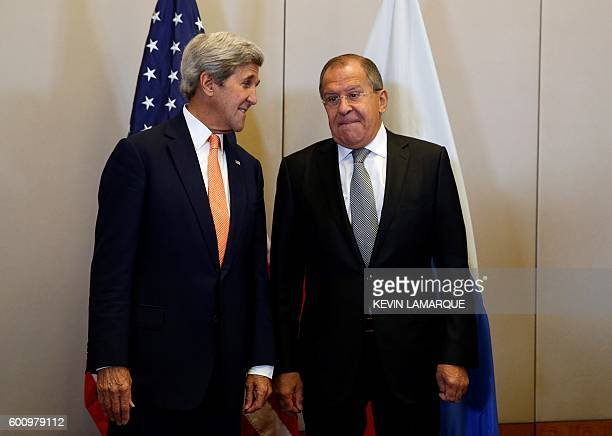 Secretary of State John Kerry and Russian Minister for Foreign Affairs Sergei Lavrov pose prior to a meeting to discuss the Syrian crisis on...