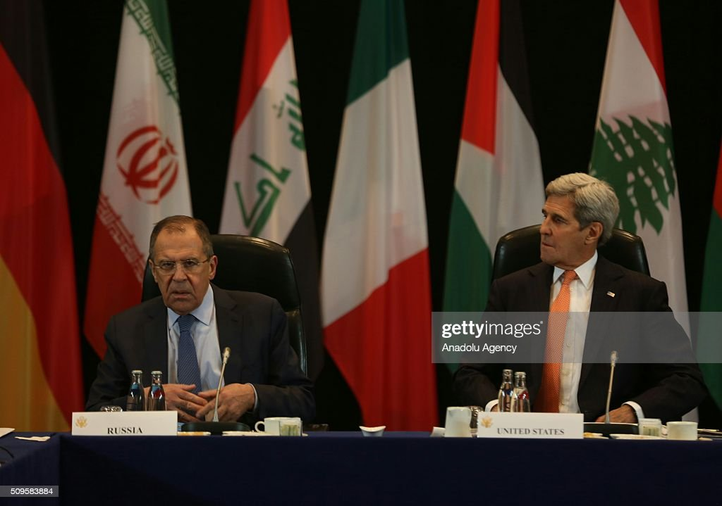 US Secretary of State John Kerry (R) and Russia's Foreign Minister Sergei Lavrov (L) are seen during the International Syrian Support Group Meeting in Munich, on February 11, 2016.