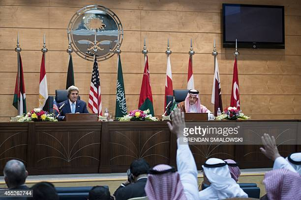 US Secretary of State John Kerry and Saudi Foreign Minister Saud alFaisal take questions after a meeting of the Gulf Cooperation Council and regional...