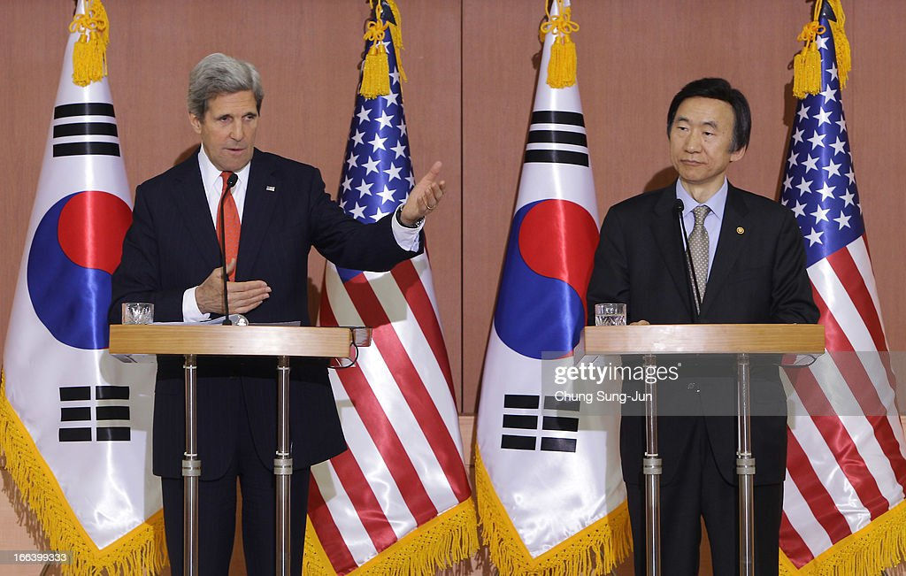 U.S. Secretary Of State <a gi-track='captionPersonalityLinkClicked' href=/galleries/search?phrase=John+Kerry&family=editorial&specificpeople=154885 ng-click='$event.stopPropagation()'>John Kerry</a> (L) and South Korean Foreign minister Yun Byung-Se (R) attend a joint press conference on April 12, 2013 in Seoul, South Korea. Kerry is on a tour of Asia, visiting South Korea and Japan and will discuss issues surrounding North Korea.