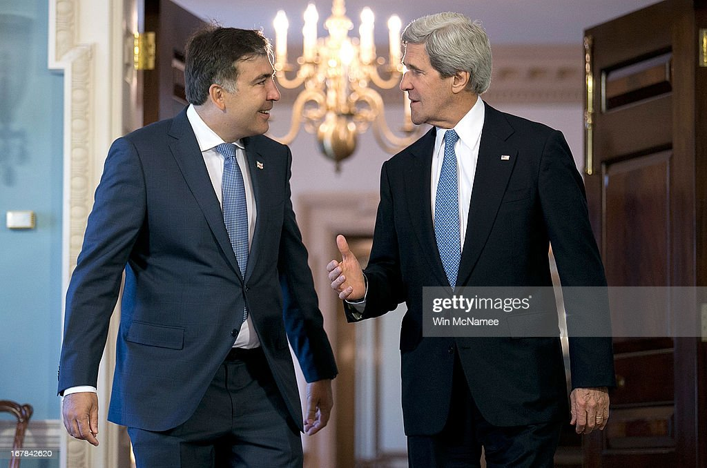 U.S. Secretary of State <a gi-track='captionPersonalityLinkClicked' href=/galleries/search?phrase=John+Kerry&family=editorial&specificpeople=154885 ng-click='$event.stopPropagation()'>John Kerry</a> (R) and the President of Georgia <a gi-track='captionPersonalityLinkClicked' href=/galleries/search?phrase=Mikheil+Saakashvili&family=editorial&specificpeople=603665 ng-click='$event.stopPropagation()'>Mikheil Saakashvili</a> confer following a bilateral meeting at the U.S. State Department May 1, 2013 in Washington, DC. Kerry is scheduled to travel to Russia next week to discuss recent developments in the region.