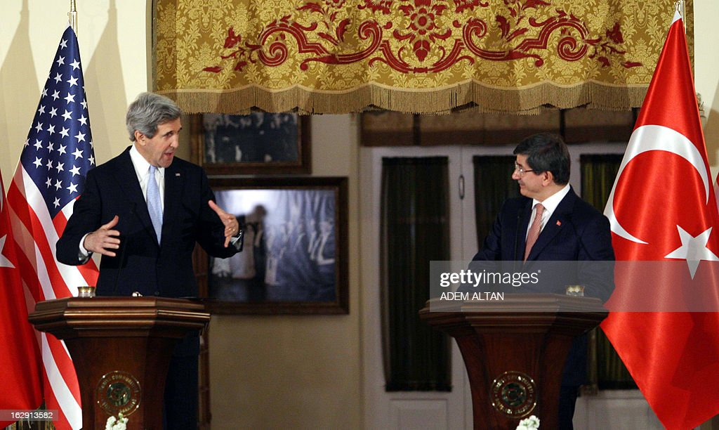 U.S. Secretary of State John Kerry (L) and Turkey's Foreign Affairs minister Ahmet Davutoglu give a press conference in Ankara on March 1, 2013. John Kerry held talks with Turkey's leaders on the Syria crisis today amid a row over controversial comments by Prime Minister Recep Tayyip Erdogan branding Zionism a 'crime against humanity'.