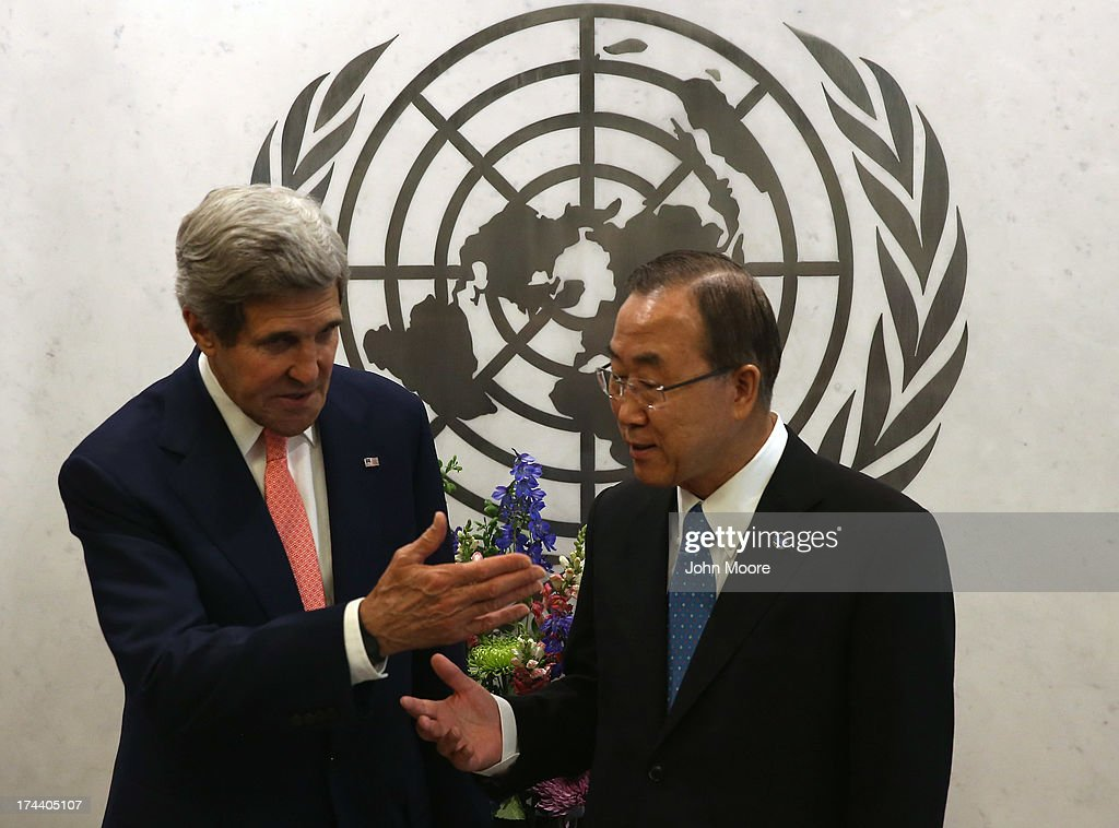 U.S. Secretary of State <a gi-track='captionPersonalityLinkClicked' href=/galleries/search?phrase=John+Kerry&family=editorial&specificpeople=154885 ng-click='$event.stopPropagation()'>John Kerry</a> and UN Secretary General Ban Ki-moon meet before a meeting of the UN Security Council on July 25, 2013 in New York City. At the meeting Kerry expressed American support for the the Secretary General's Peace, Security and Cooperation Framework for the Democratic Republic of the Congo and the region.