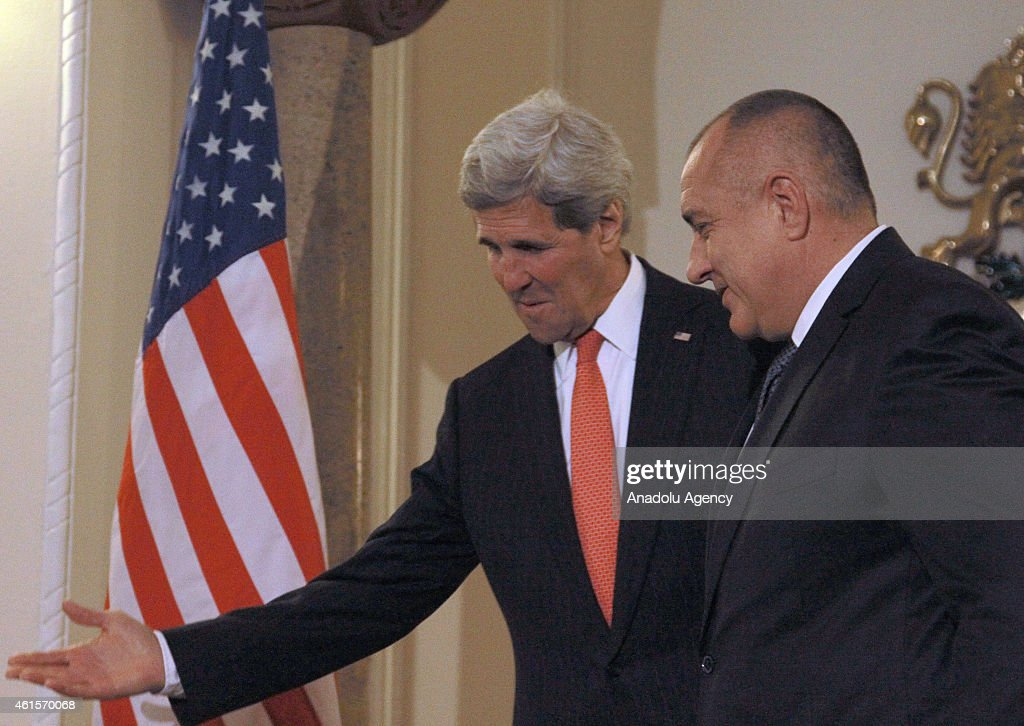 US Secretary of State <a gi-track='captionPersonalityLinkClicked' href=/galleries/search?phrase=John+Kerry&family=editorial&specificpeople=154885 ng-click='$event.stopPropagation()'>John Kerry</a> (L) and with Bulgarian Prime Minister <a gi-track='captionPersonalityLinkClicked' href=/galleries/search?phrase=Boyko+Borisov&family=editorial&specificpeople=5906164 ng-click='$event.stopPropagation()'>Boyko Borisov</a> (R) meet in Sofia, Bulgaria, on January 15, 2015.
