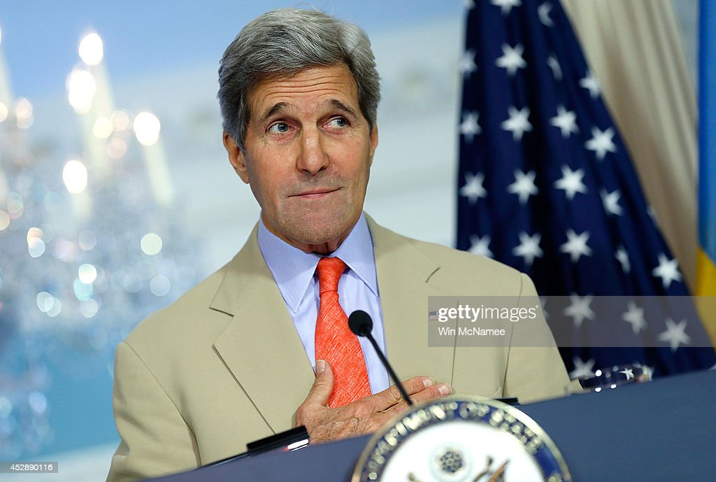 U.S. Secretary of State <a gi-track='captionPersonalityLinkClicked' href=/galleries/search?phrase=John+Kerry&family=editorial&specificpeople=154885 ng-click='$event.stopPropagation()'>John Kerry</a> answers questions about Israel's invasion of Gaza and the current situation in Ukraine following a meeting with Ukrainian Foreign Minister Pavlo Klimkin at the State Department July 29, 2014 in Washington, DC. Kerry responded to questions raised about his attempts to broker a ceasefire between Israel and Hamas.