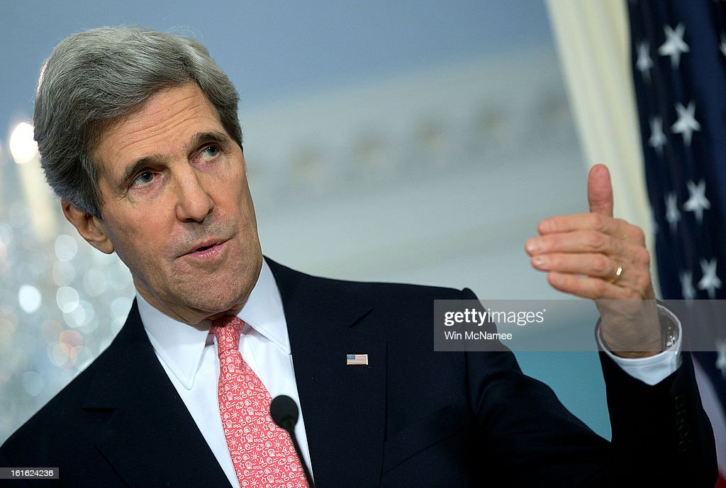 U.S. Secretary of State <a gi-track='captionPersonalityLinkClicked' href=/galleries/search?phrase=John+Kerry&family=editorial&specificpeople=154885 ng-click='$event.stopPropagation()'>John Kerry</a> answers questions during a joint press conference with Jordanian Foreign Minister Nasser Judeh at the State Department February 13, 2013 in Washington, DC. Kerry and Judeh met privately to discuss efforts in Syria and on the Middle East peace process among other issues.