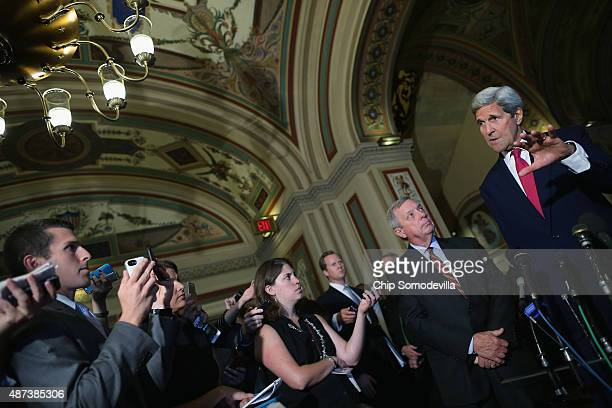 S Secretary of State John Kerry answers reporters' questions after meeting with Senate Minority Whip Richard Durbin and other members of Congress at...