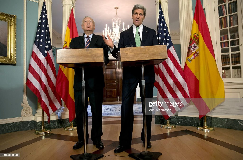 U.S. Secretary of State <a gi-track='captionPersonalityLinkClicked' href=/galleries/search?phrase=John+Kerry&family=editorial&specificpeople=154885 ng-click='$event.stopPropagation()'>John Kerry</a> (R) appears with Foreign Minister of Spain Jose Manuel Garcia-Margallo during a press conference at the State Department April 30, 2013 in Washington, DC. Kerry spoke on the Middle East peace process and developments within a delegation from the Arab League during his remarks.