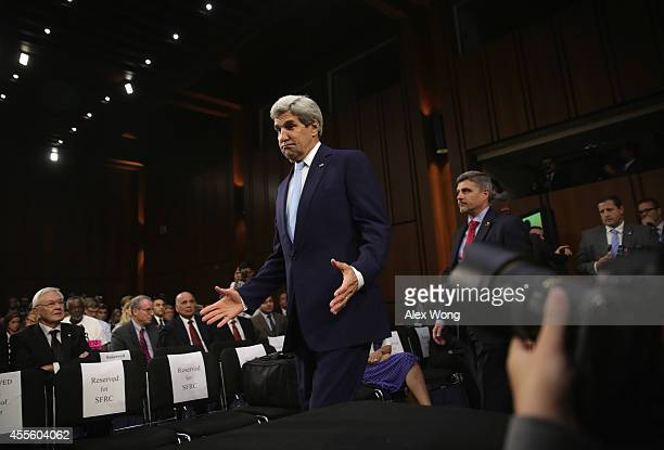 S Secretary of State John Kerry arrives at a hearing before the Senate Foreign Relations Committee September 17 2014 on Capitol Hill in Washington DC...