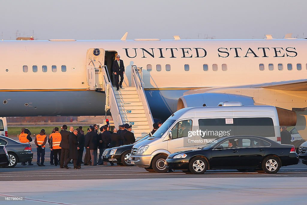 Secretary of State John Kerry arrives at Ciampino airport on February 27, 2013 in Rome, Italy. Kerry is on his first trip as Secretary of State visiting nine nations in Europe and the Mideast.