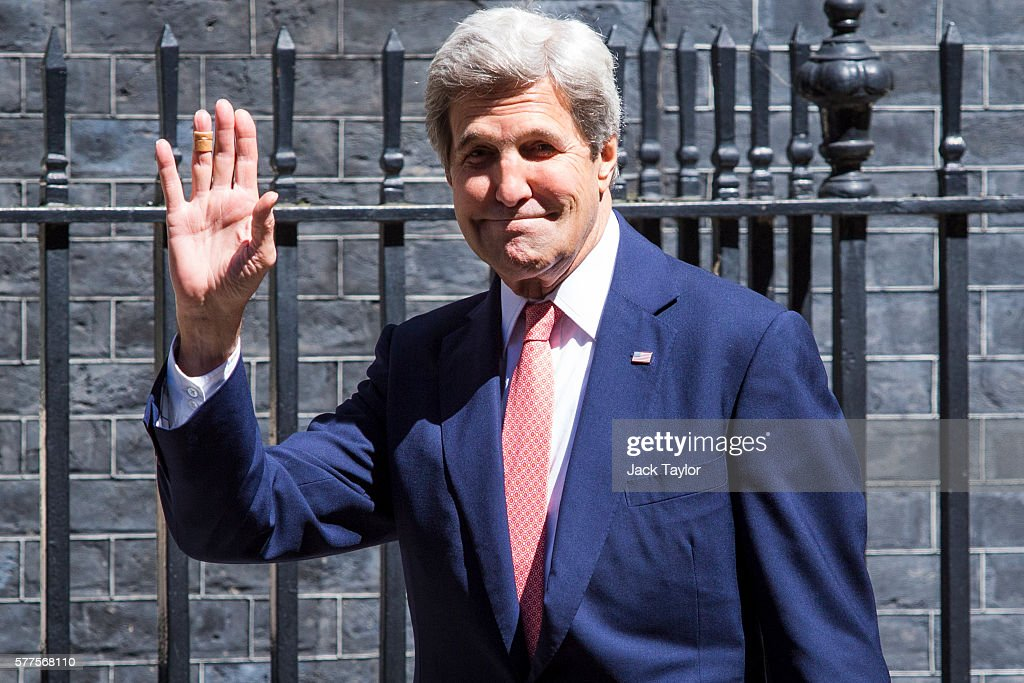 US Secretary of State John Kerry arrives at Number 10 Downing Street on July 19, 2016 in London, United Kingdom. Mr Kerry meets with British Prime Minister Theresa May today.