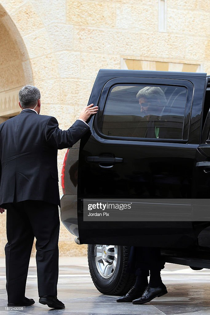 U.S. Secretary of State <a gi-track='captionPersonalityLinkClicked' href=/galleries/search?phrase=John+Kerry&family=editorial&specificpeople=154885 ng-click='$event.stopPropagation()'>John Kerry</a> (R) arrives at the royal palace November 7, 2013 in Amman, Jordan. Kerry met with King Abdullah II and Foreign Minister Nasser Judeh in Jordan after previously meeting with Israeli and Palestinian leaders during a trip to the Middle East in an effort to boost Israeli-Palestinian peace talks.
