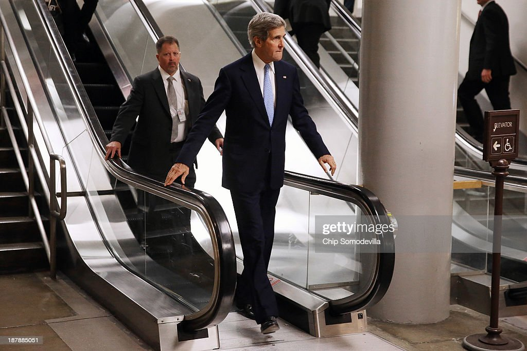 U.S. Secretary of State John Kerry arrives at the U.S. Capitol before testifying to the Senate Banking and Urban Affairs Committee behind closed doors November 13, 2013 in Washington, DC. Kerry is asking Congress not to approve any new sanctions on Iran while negotiations continue with Tehran about its nuclear program.