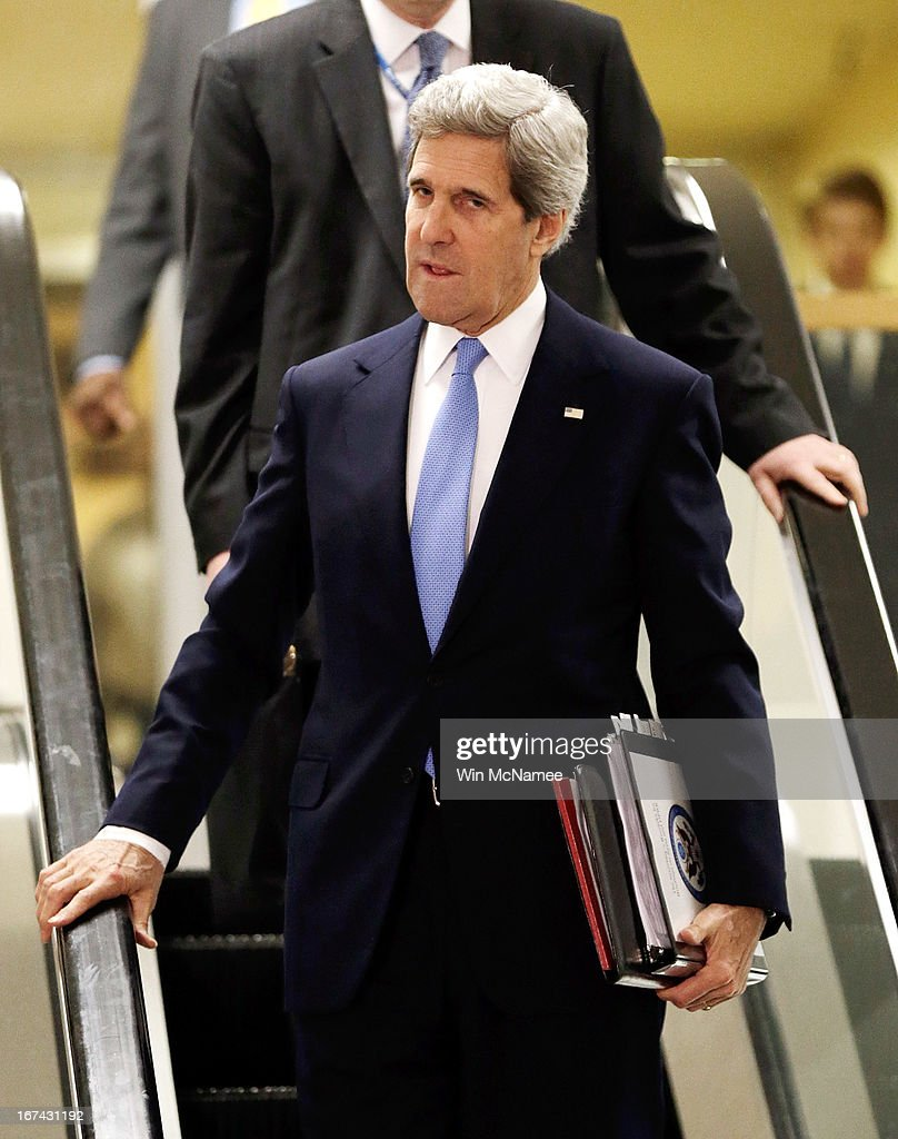 U.S. Secretary of State <a gi-track='captionPersonalityLinkClicked' href=/galleries/search?phrase=John+Kerry&family=editorial&specificpeople=154885 ng-click='$event.stopPropagation()'>John Kerry</a> arrives at the U.S. Capitol for a classified briefing April 25, 2013 in Washington, DC. Members of the U.S. Senate and Senate leadership received the latest updates from members of the U.S. intelligence community on developments.