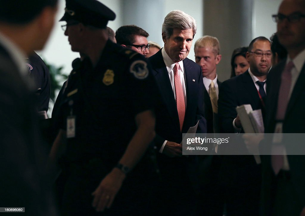 U.S. Secretary of State <a gi-track='captionPersonalityLinkClicked' href=/galleries/search?phrase=John+Kerry&family=editorial&specificpeople=154885 ng-click='$event.stopPropagation()'>John Kerry</a> arrives for a closed briefing on Syria before Senate Foreign Relations Committee September 17, 2013 on Capitol Hill in Washington, DC. A team of UN inspectors found out a nerve gas attack against civilians did happen last month in Syria, according to the report they released to the UN Security Council on Monday.