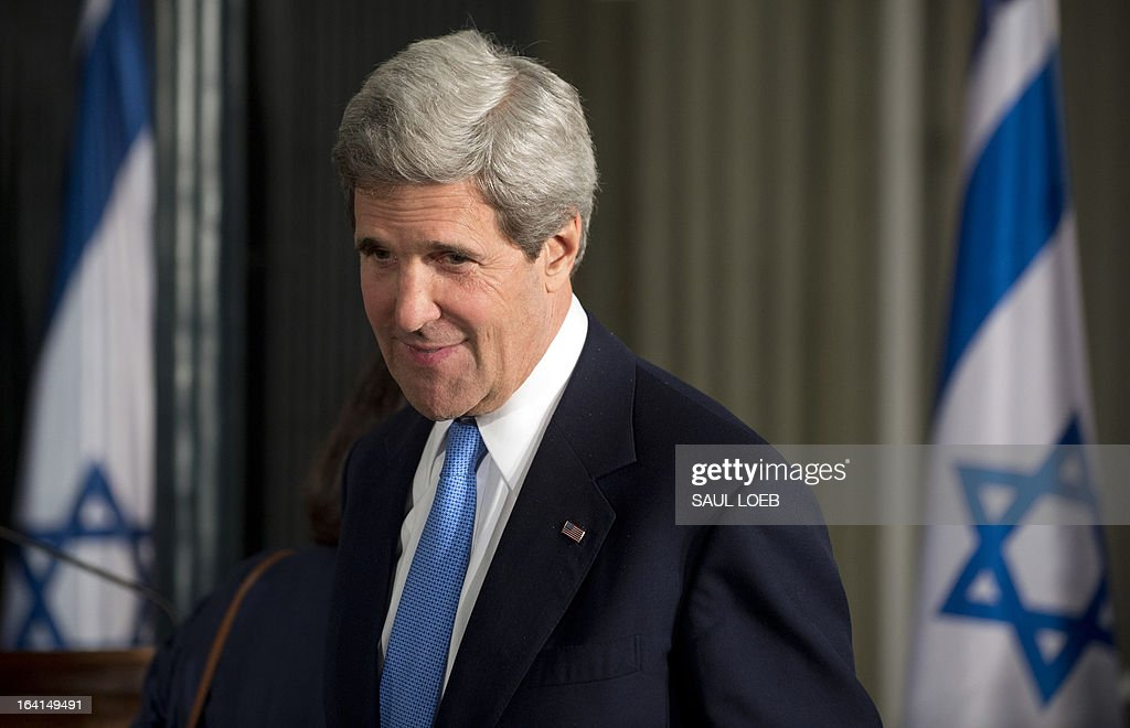 US Secretary of State John Kerry arrives for a joint press conference between Israeli Prime Minister Benjamin Netanyahu and US President Barack Obama at the Prime Minister's Residence in Jerusalem, on March 20, 2013, on the first day of Obama's three day trip to Israel and the Palestinian Territories. AFP PHOTO / Saul LOEB