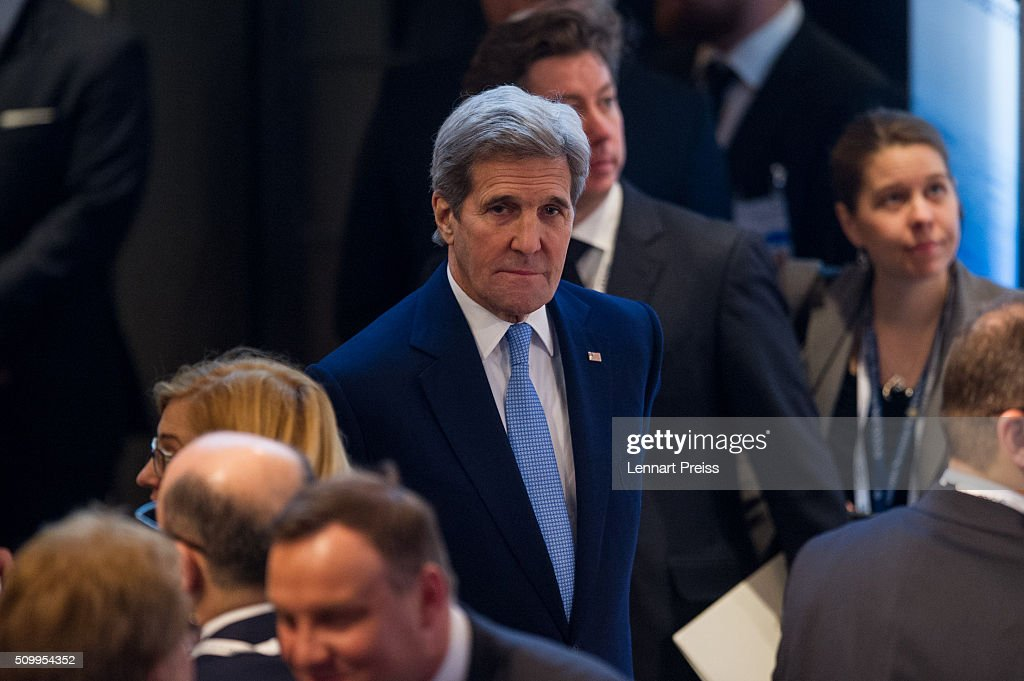 US Secretary of State <a gi-track='captionPersonalityLinkClicked' href=/galleries/search?phrase=John+Kerry&family=editorial&specificpeople=154885 ng-click='$event.stopPropagation()'>John Kerry</a> (C) arrives for his statement at the 2016 Munich Security Conference at the Bayerischer Hof hotel on February 13, 2016 in Munich, Germany. The annual event brings together government representatives and security experts from across the globe and this year the conflict in Syria will be the main issue under discussion.