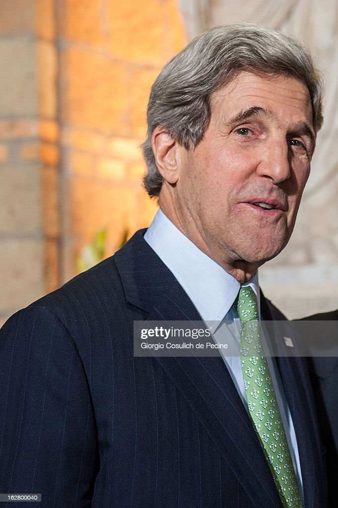 U.S. Secretary of State John Kerry arrives to attend a meeting at Villa Madama on February 27, 2013 in Rome, Italy. John Kerry is on his first trip as Secretary of State visiting nine nations in Europe and the Mideast.