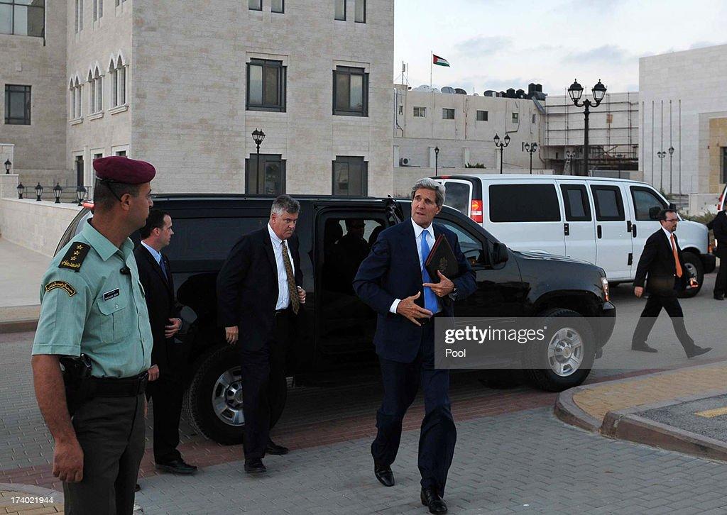 U.S. Secretary of State John Kerry arrives to board a flight July 19, 2013 in Ramallah, West Bank. Kerry held talks with Palestinian president Mahmud Abbas.
