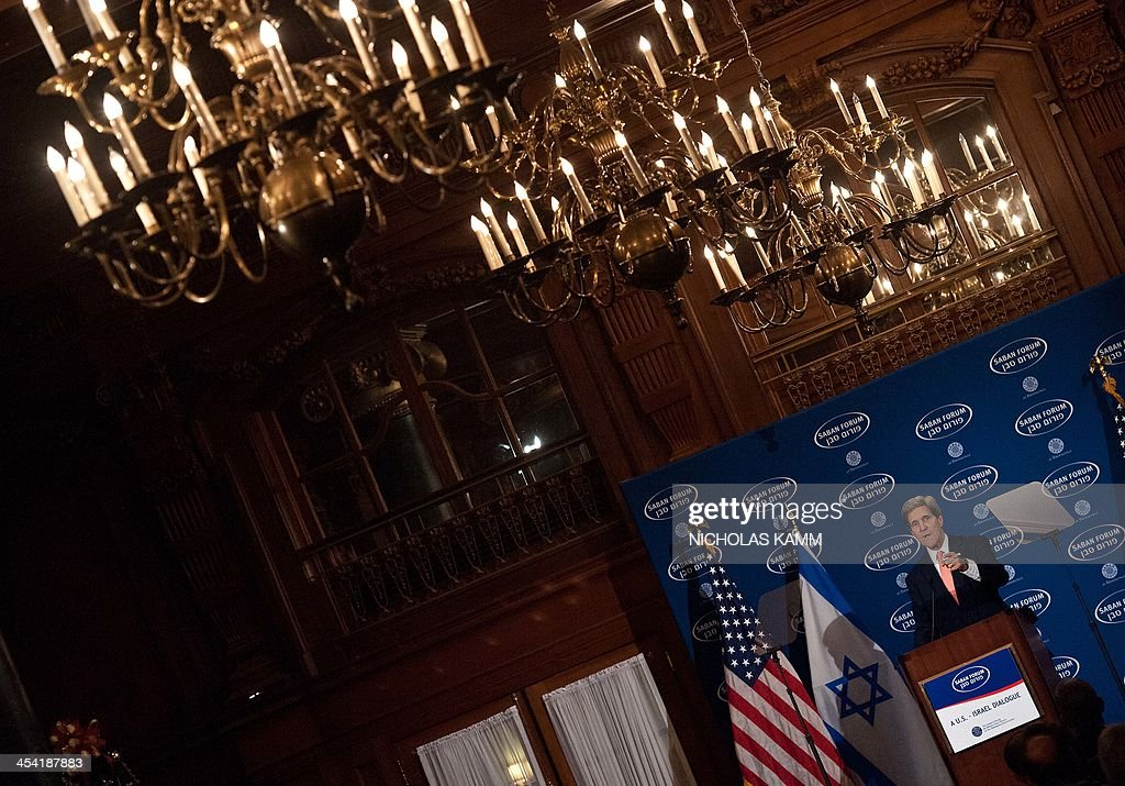 US Secretary of State John Kerry arrives to deliver the keynote address at the 10th Anniversary Saban Forum, Power Shifts: US-Israel Relations in a Dynamic Middle East, in Washington on December 7,...